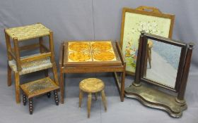 VINTAGE FURNITURE PARCEL to include firescreen with tapestry front, toilet mirror, tiled top