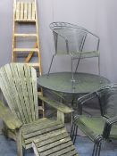 GARDEN FURNITURE ENSEMBLE and a set of vintage wooden step ladders, the garden items to include a