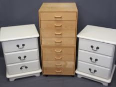 TWO PAIRS OF MODERN BEDSIDE CHESTS including a cream painted pair with three drawers, 59.5cms H,
