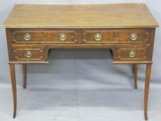 REPRODUCTION MAHOGANY DESK, rectangular top over two long drawers and two smaller with brass ring