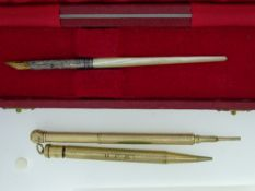 TWO ANTIQUE PROPELLING PENCILS - 1 Rolled Gold Lady Yard O Lette; 1 gold coloured, also one
