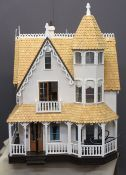 A LARGE VICTORIAN STYLE DOLL'S HOUSE WITH VERANDAH - handmade Greenleaf/Garfield circa 1990, the