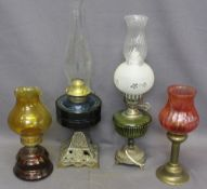 OIL LAMPS (4), iron based, brass ETC