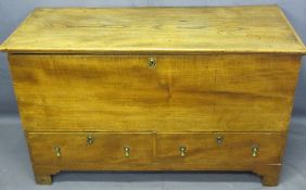 CONTINENTAL WALNUT MULE CHEST, rectangular top with two lower drawers having brass drop handles,