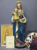 PAINTED PLASTER STATUE OF MADONNA & CHILD, Illustrated Holy Bible, Caxton Publishing and a framed