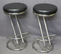STYLISH CHROME & LEATHER EFFECT TOP BAR STOOLS, a pair, 69cms H, 36cms Diameter