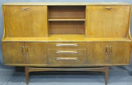 G-PLAN OR SIMILAR MID-CENTURY SIDEBOARD with upper section sliding and drop down doors, 121cms H,