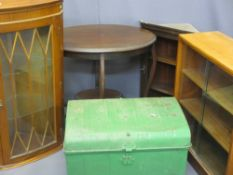 FURNITURE ASSORTMENT - glass door mid-century bookcase, metal trunk, display cabinets (2) and an