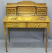 EDWARDIAN INLAID MAHOGANY LADY'S WRITING DESK with shaped railback over a central rectangular