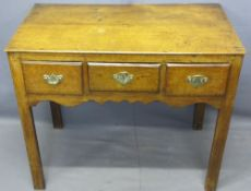 ANTIQUE OAK THREE DRAWER SIDE TABLE, rectangular top over three oak lined drawers having fancy brass