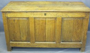 CIRCA 1820 PANELLED OAK COFFER, the top with iron strap hinges opening to reveal an interior