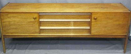 YOUNGER MID-CENTURY TEAK SIDEBOARD with side by side cupboards and stylish central drawers, 75cms H,