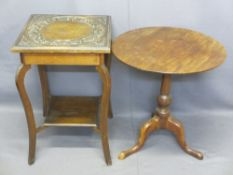VICTORIAN MAHOGANY TILT-TOP TRIPOD TABLE and a circa 1900 oak two-tier side table with carved detail