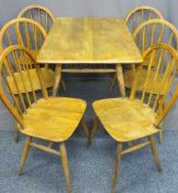 ERCOL LIGHT COLOURED TABLE, 72cms H, 100cms W, 70cms D and six hoop back spindle chairs