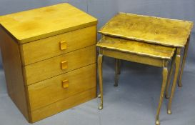 TEAK CHEST of three drawers and two burr walnut veneer side tables, one having lift-up lid with
