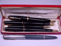 PARKER - Vintage (1950s) collection of a Black Parker Duofold fountain pens and pencil comprising: 1