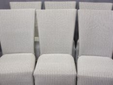 SIX MODERN LLOYD LOOM WICKER CRUISER TYPE CHAIRS, high back with apron sides, 99cms H, 45cms W,
