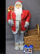 LARGE STANDING FATHER CHRISTMAS MODEL, wicker basket, boxed Polaroid instant camera and a vintage