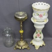 ONYX & BRASSWARE FANCY SMOKER'S COMPANION, Continental jardiniere and stand and a Demijohn