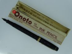 VINTAGE (1940s) BLACK DE LA RUE 'ONOTO SELF FILLING STYLO' No.928 INK PENCIL with gold plated trim