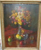 Unbekannter Maler. Stillleben mit Blumen und Früchten. Sig.?. Öl/Lw. Rashmen ca. 76x100cm.- - -22.00