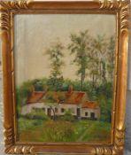C.Ringlet. Landschaft mit kleinem Anwesen. Öl/Lw. Sig. U.r. Rahmen ca. 36x46cm.- - -22.00 % buyer'