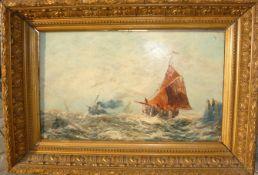 Unbekannter Maler. Seestück mit Dampfer und anderen Schiffen. Öl/Lw. Rahmen ca. 48x69cm.- - -22.00 %