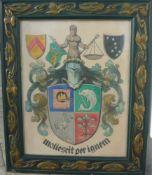 Wappenbild in tollem Jugendstilrahmen mit Glas. Um 1900. Maß ca. 82x68cm.- - -22.00 % buyer's