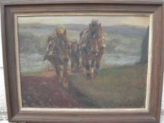 Prof. Osswald. Pferde und Bauer beim Pflügen. Öl/Platte. Sig.u.r. Rahmen ca. 45x58cm.- - -22.00 %