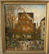 Otto Amtsberg. Ansicht vom Blumenmarkt in Alt-Emden. Öl/Lw. Sig. U.l. Rahmen ca. 84x72cm.- - -22.