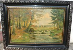 W.Siemens. Weitläufige Landschaft mit Fluss. Öl/Lw. Sig. U.l. Rahmen ca. 74x100cm.- - -22.00 %