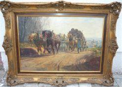 Unbekannter Maler. Pferdegespann. Öl/Lw. Sig. U.r. Rahmen ca. 57x78cm.- - -22.00 % buyer's premium