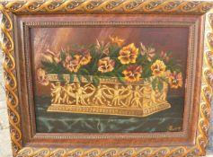 T.Schürges. Qualitätvolles Gemälde mit Stiefmütterchen. Öl/Holz. Sig. U.r. Rahmen ca. 49x63cm- - -