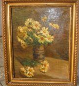 Unbekannter Maler. Stillleben mit Blumenstrauss. Wohl um 1900. Öl/Lw. Rahmen ca. 61x51cm.- - -22.