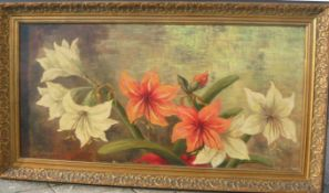 Vogel. Gemälde mit Amaryllis. Öl/Lw. Sig. U.l. Rahmen ca. 53x94cm.- - -22.00 % buyer's premium on