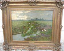 Adolf Lins. Weitläufige Landschaft mit weissen Enten. Öl/Platte. Sig.u.r. Rahmen ca. 58x69cm.- - -