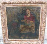 Unbekannter Maler. Mönch im Keller. Öl/Lw. Sig.u.r. Rahmen ca. 54x54cm.- - -22.00 % buyer's
