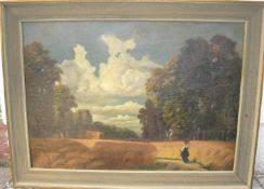 F.Kottmann. Stimmungsvolle Landschaft mit Personen. Öl/Lw. Sig.u.r. Rahmen ca. 61x82cm.- - -22.