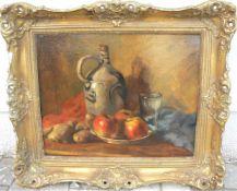 Unbekannter Maler. Stillleben mit Krug und Früchten. Öl/Platte. Sig.u.r. Rahmen ca. 58x67cm.- - -