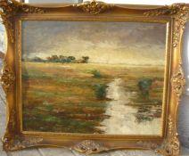 Unbekannter Maler. Weitläufige Landschaft. Öl/Platte. Sig. U.l. Rahmen ca. 51x61cm.- - -22.00 %
