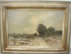 Unbekannter Maler. Winterlandschaft. Öl/Lw. Sig.u.l. Rahmen ca. 53x69cm.- - -22.00 % buyer's premium