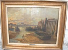 """V. de Ruyter (1870-xx) Düsseldorf. Uferstimmung mit Booten. Ökl/Lw. Sig.u.l. und dat. """"09"""". Rahmen"""