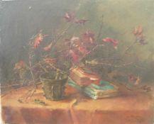 Unbekannter Künstler. Qualitätvolles Stillleben. Öl/Lw. Sig. U.r. Bildmaß ca. 45x55cm.- - -22.00 %