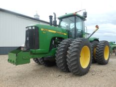 2001 JD 9200 4WD w/20.8-42 duals, front rock box, 4 valves, one owner, 3361 hrs. SN41143.