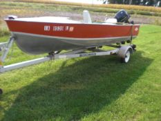 16' Lund boat w/25 HP 2 cycle oil injected Evinrude motor on Shore Lander trailer.