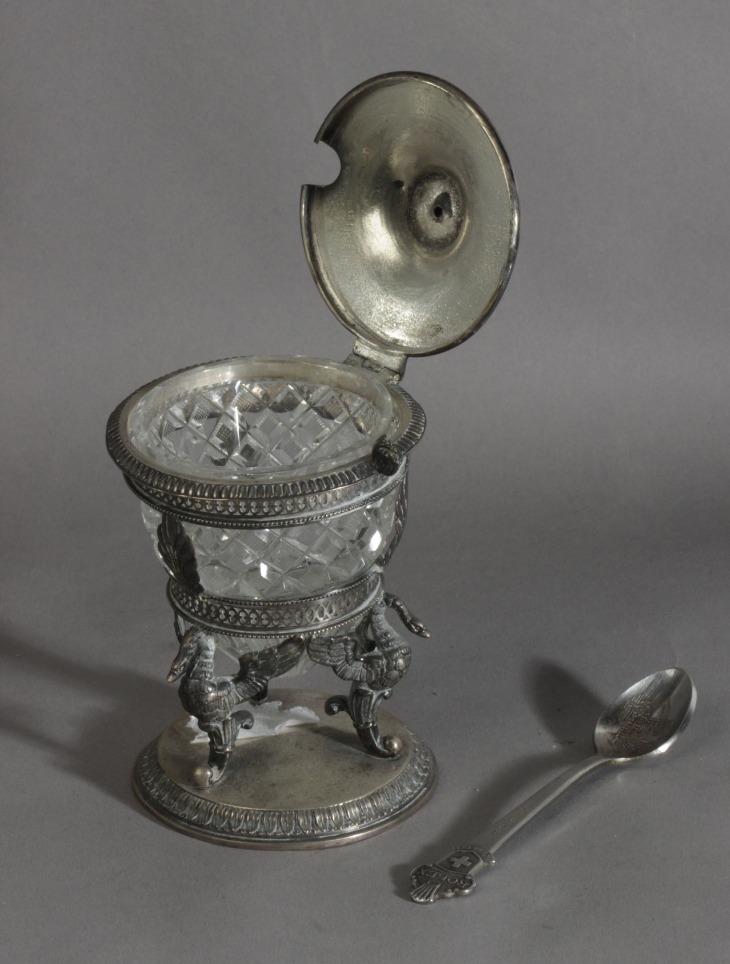 A 19th century French sugar bowl in silver and cut glass