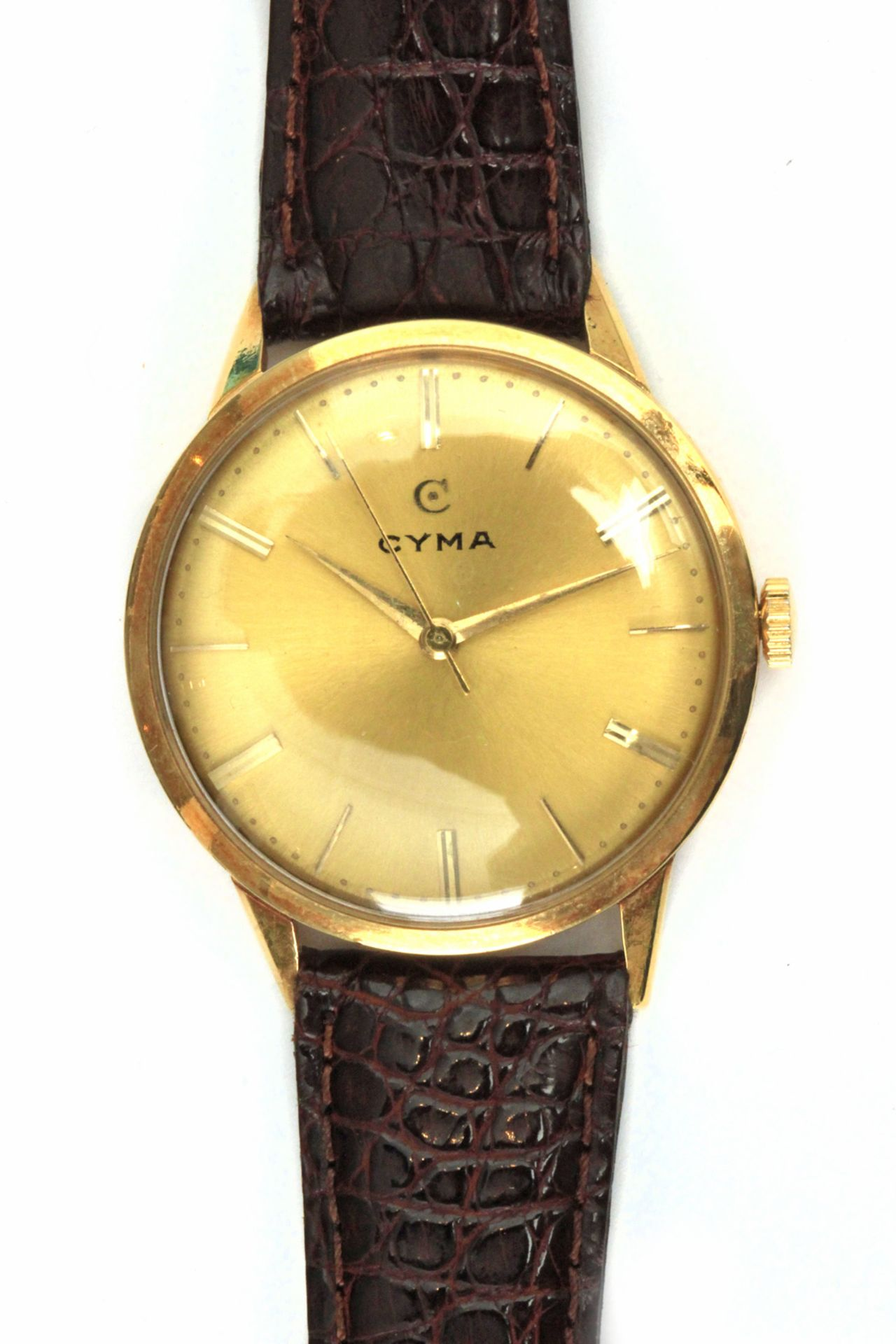 Los 45 - Cyma. 18k. yellow gold gentlemen watch with a leather strap