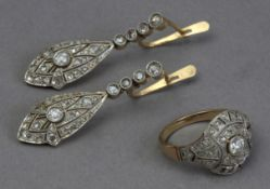 An Art-Déco set of diamond earrings and ring circa 1930