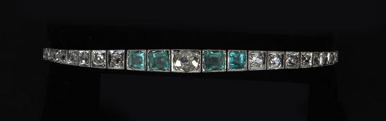 An Art-Déco diamonds and paste emeralds bracelet circa 1920