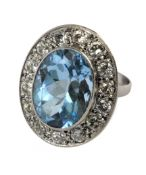 A diamond and London blue topaz cluster ring